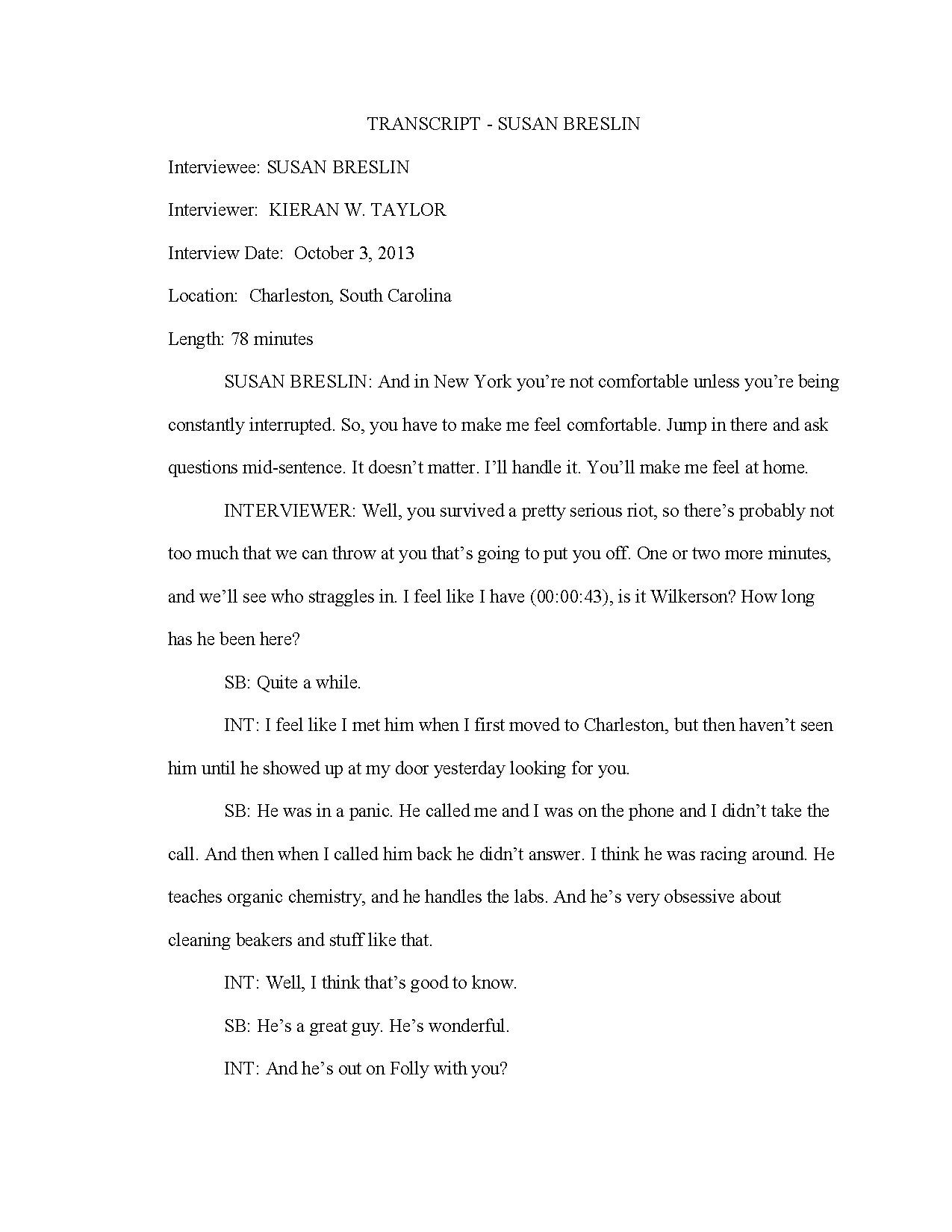Susan Breslin, Interview by Kieran Taylor, 3 October, 2013
