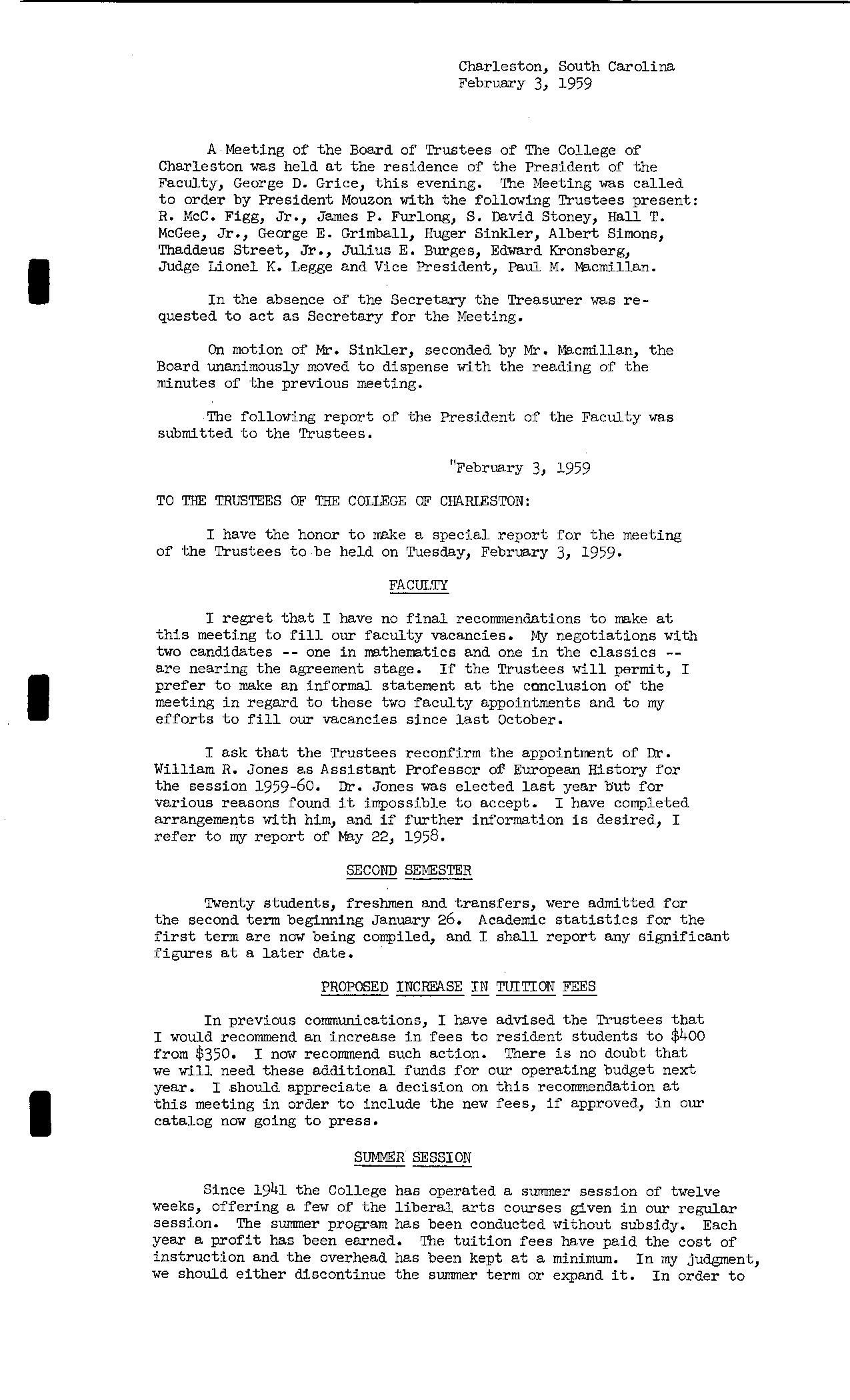 Board Meeting Minutes, 1959-1962