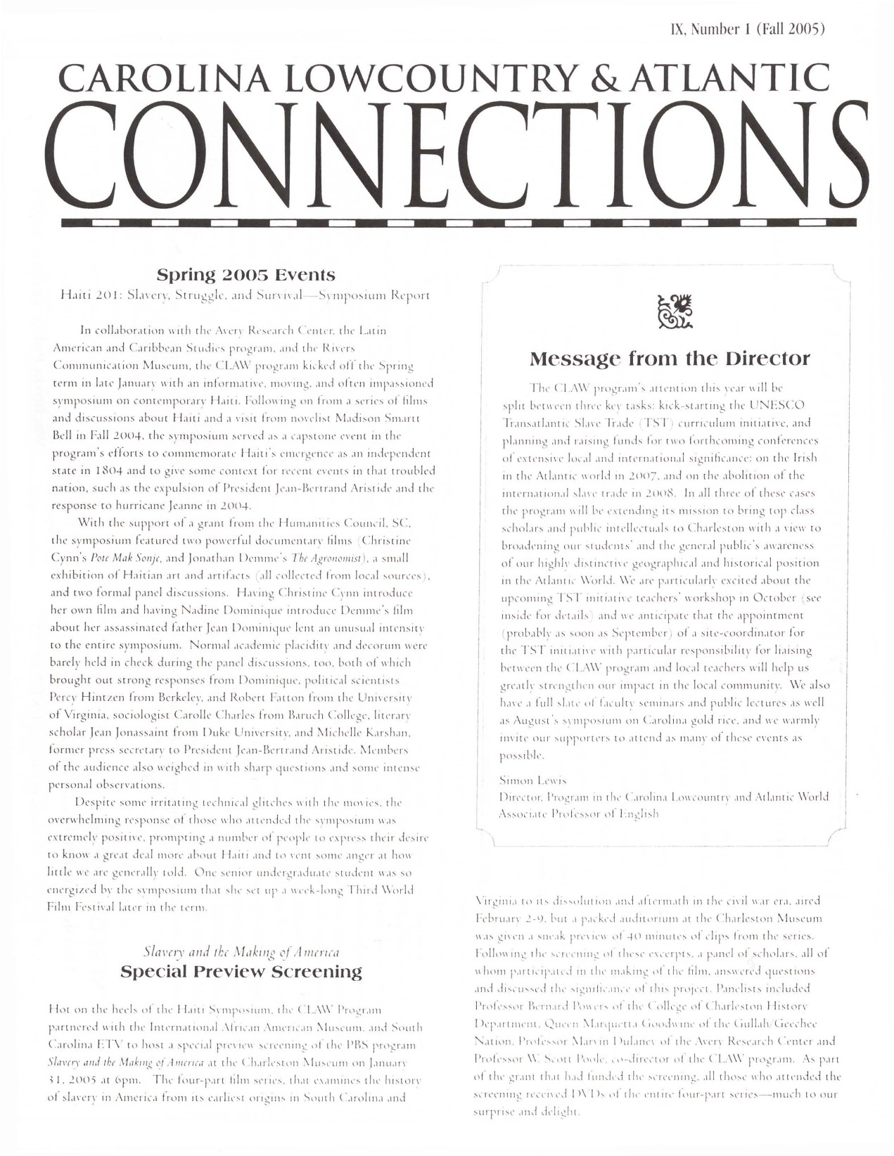 CLAW Newsletter Volume 09, Number 1