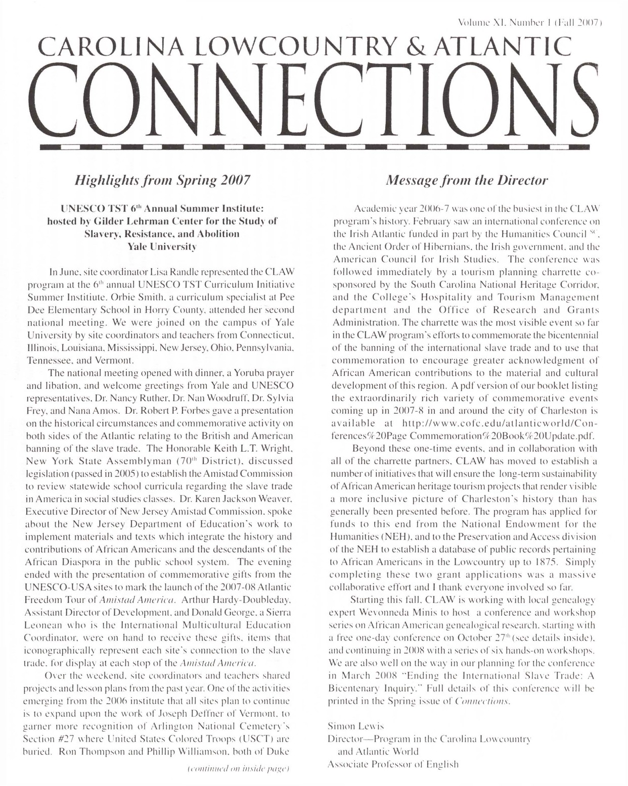 CLAW Newsletter Volume 11, Number 1