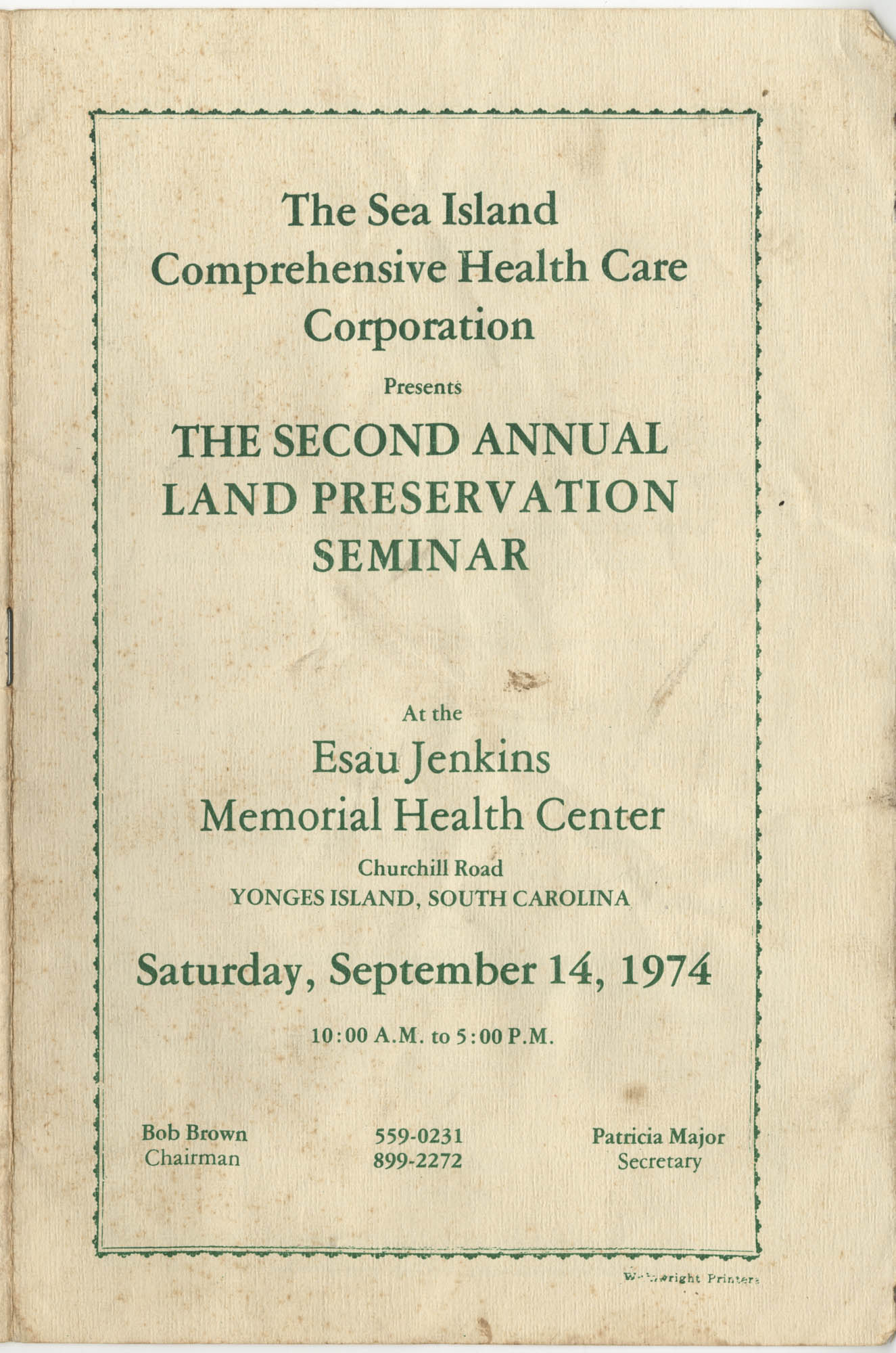 The Second Annual Land Preservation Seminar, Front Cover