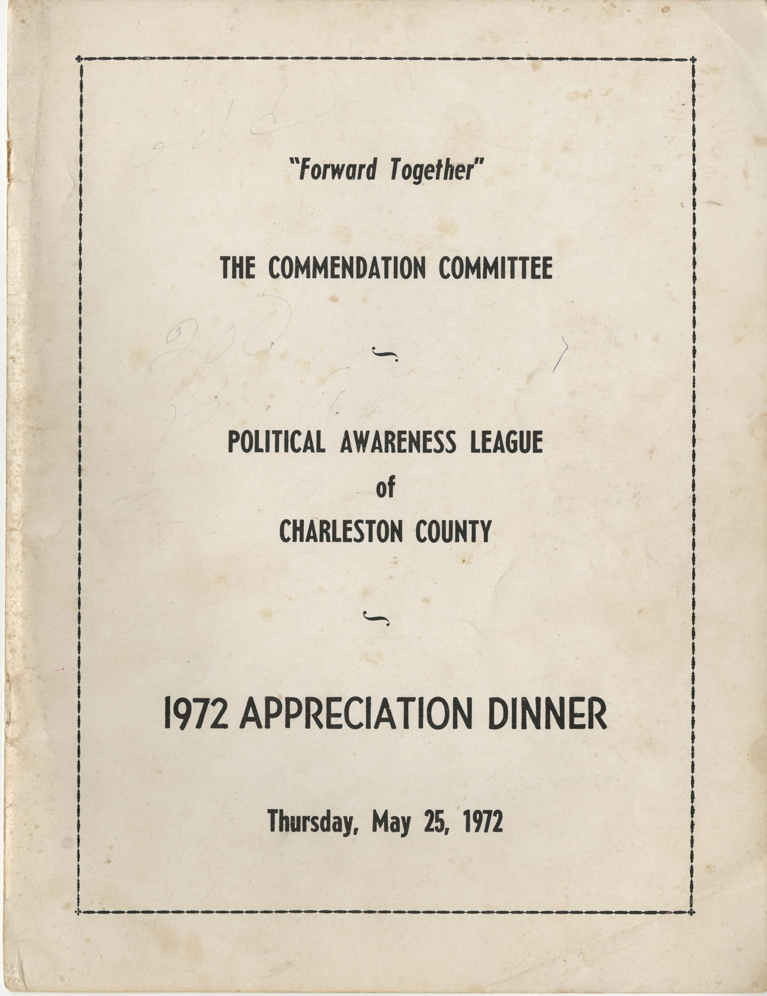 Political Awareness League of Charleston County, 1972 Appreciation Dinner, Front Cover