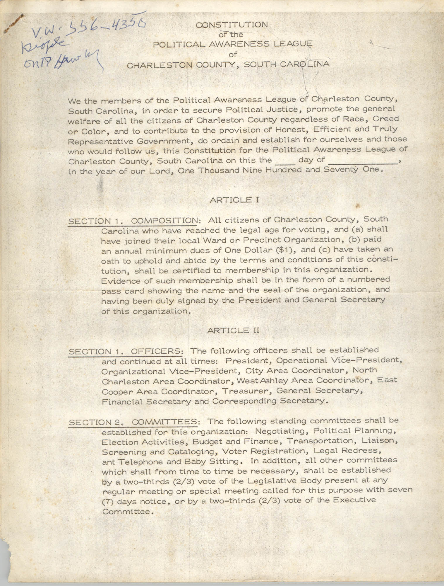 Constitution of the Political Awareness League of Charleston County, South Carolina, Page 1