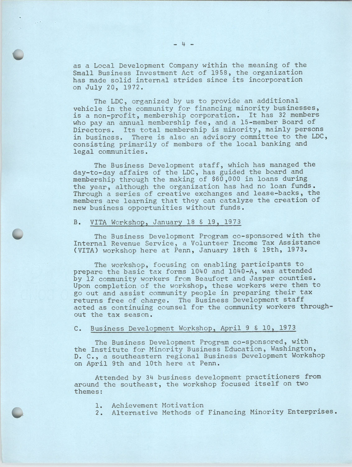 Annual Reports, Penn Community Services, 1973, Page 21