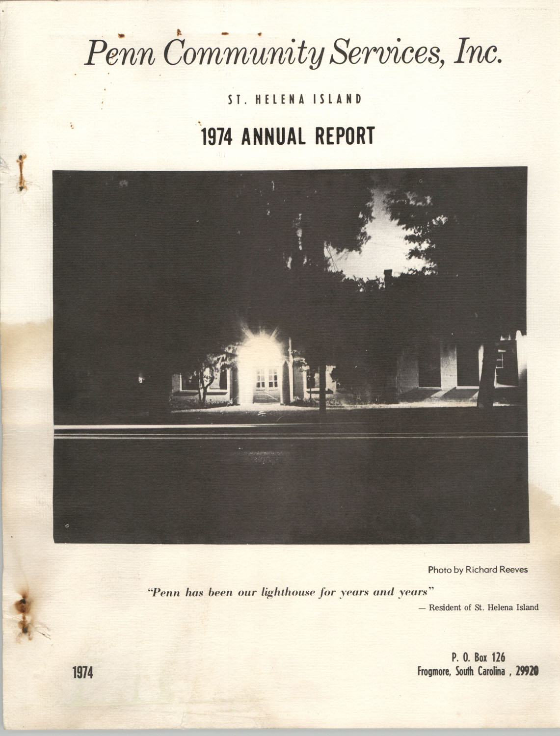 Annual Report, Penn Community Services, 1974, Cover