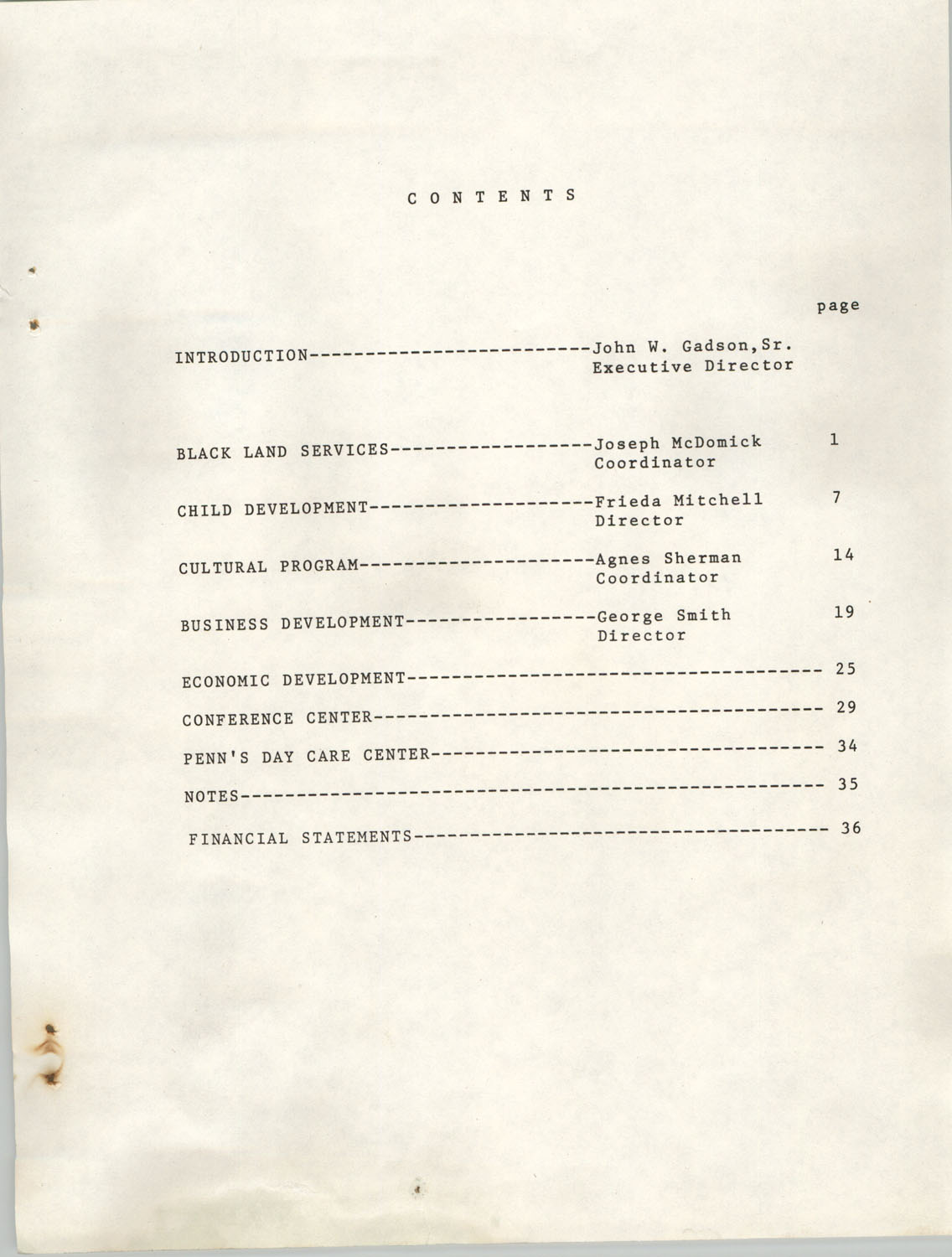 Annual Report, Penn Community Services, 1974, Contents Page