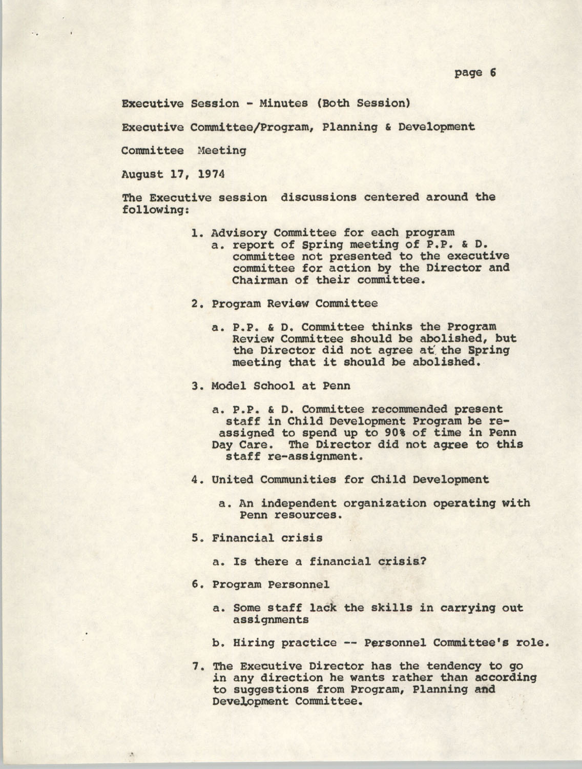 Minutes, Penn Community Services, August 17, 1974, Page 6