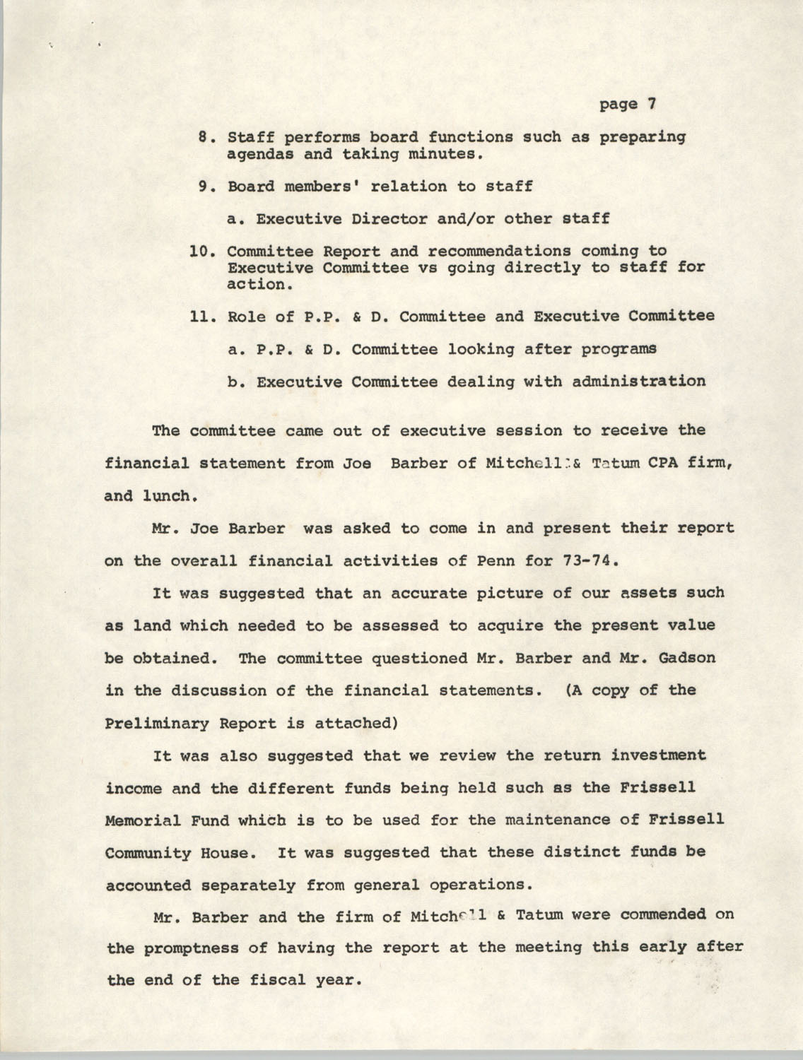 Minutes, Penn Community Services, August 17, 1974, Page 7