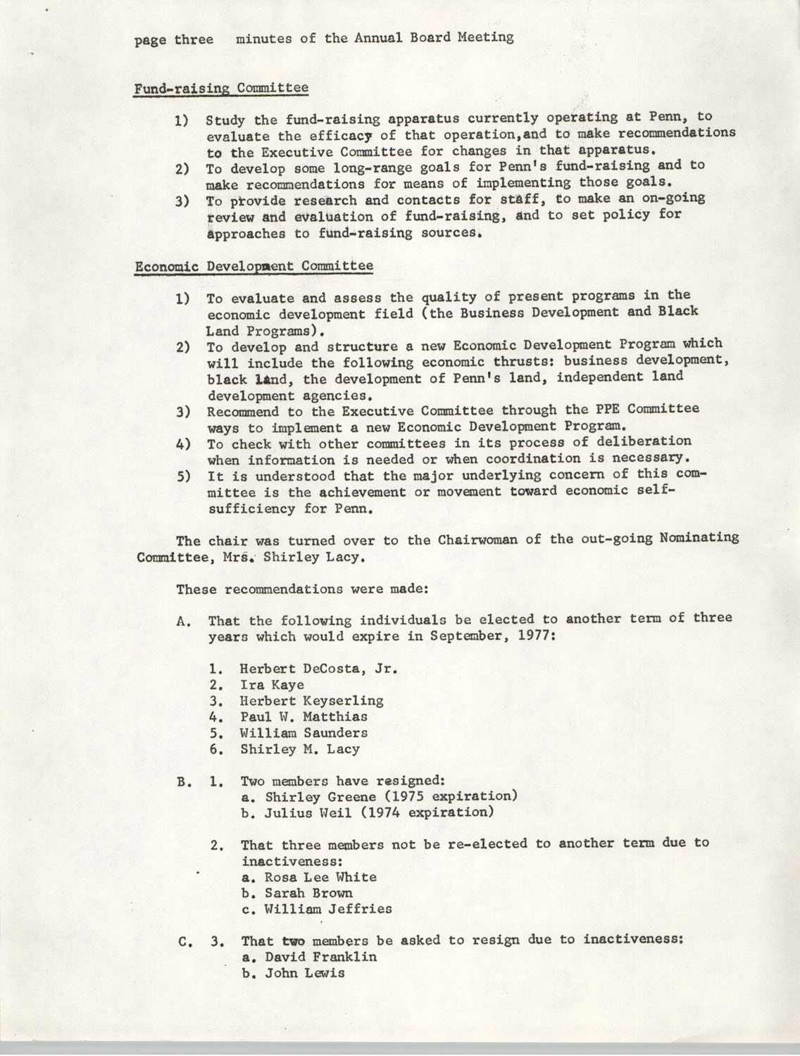 Minutes, Penn Community Services, September 20-21, 1974, Page 3