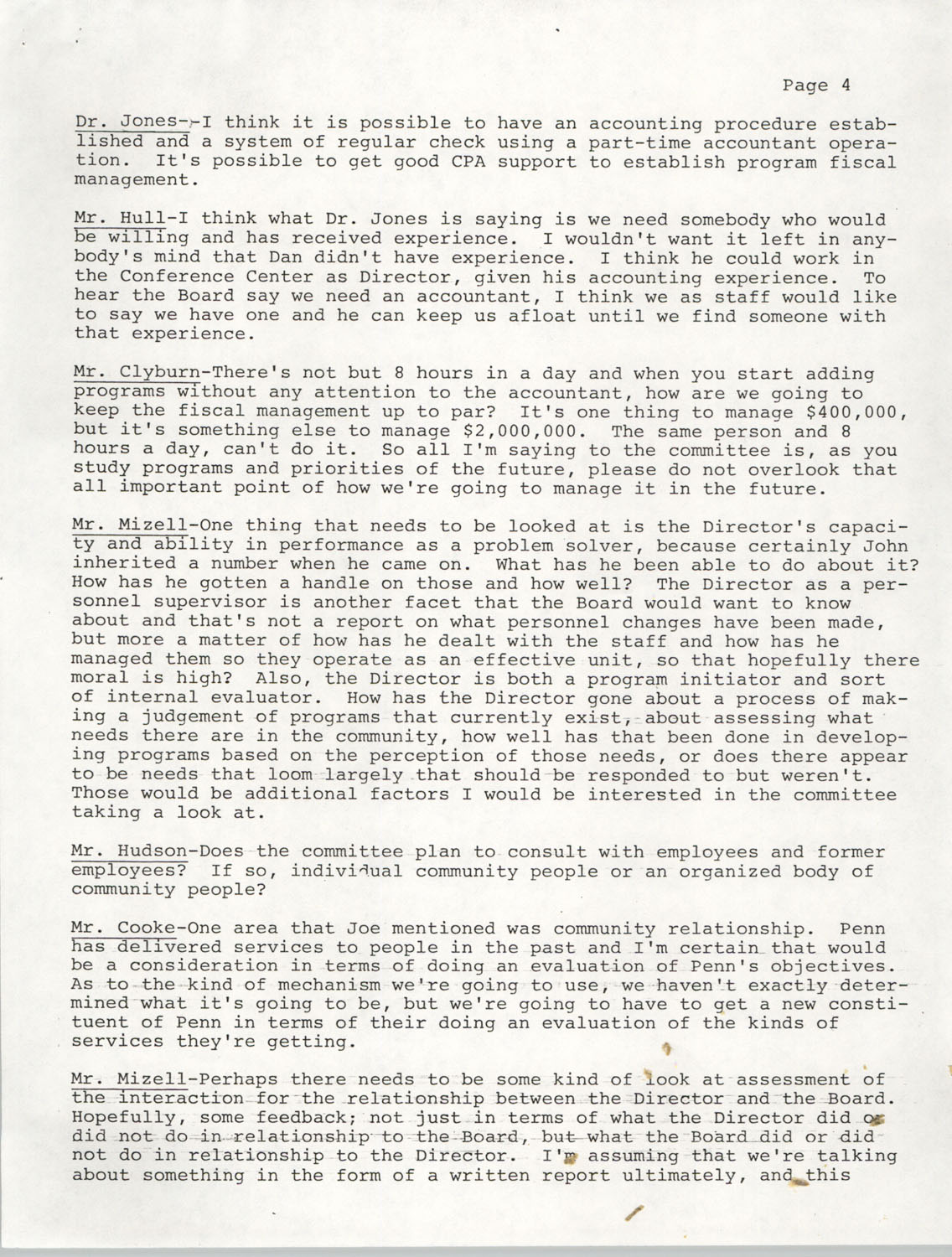 Minutes, Annual Board Meeting, Penn Community Services, October 22, 1977, Page 4