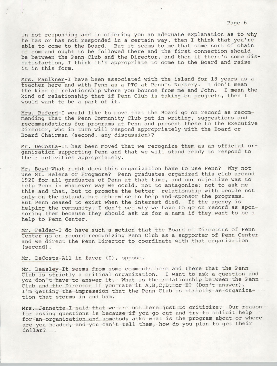 Minutes, Annual Board Meeting, Penn Community Services, October 22, 1977, Page 6