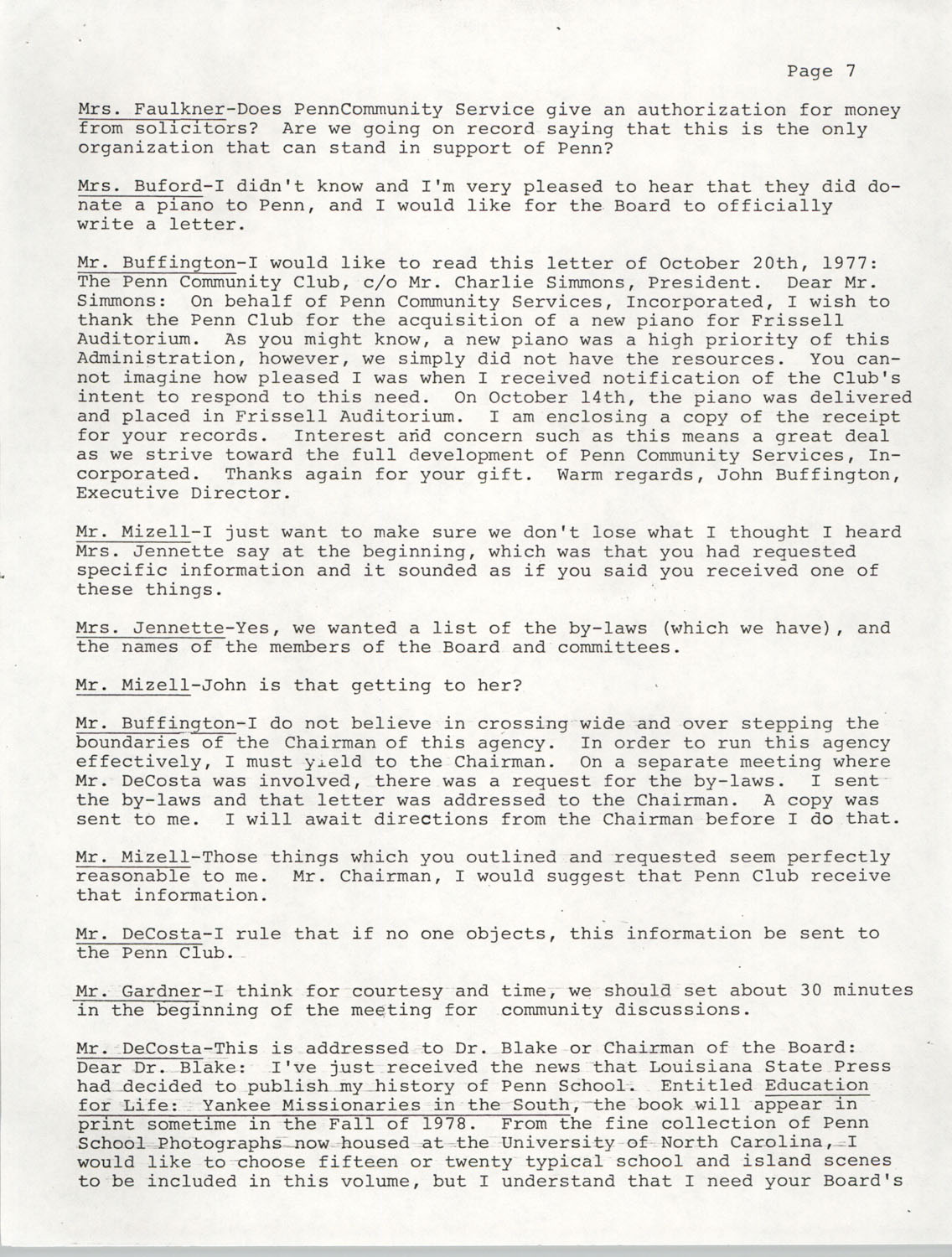 Minutes, Annual Board Meeting, Penn Community Services, October 22, 1977, Page 7