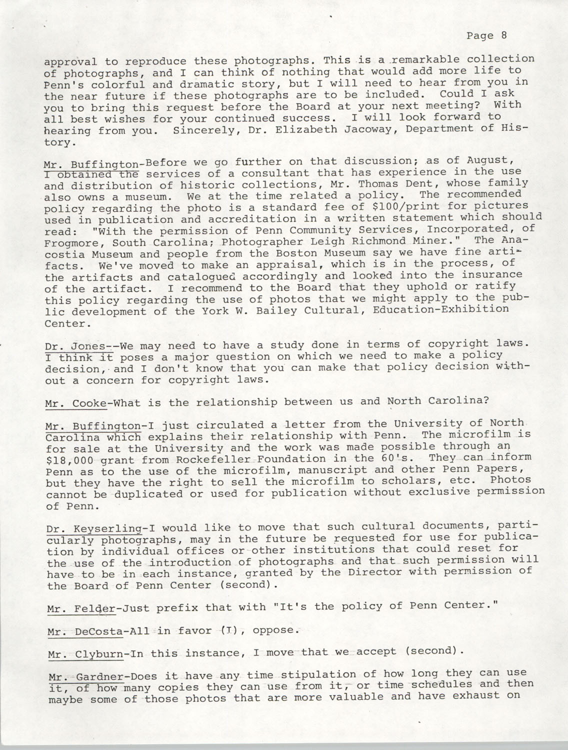 Minutes, Annual Board Meeting, Penn Community Services, October 22, 1977, Page 8