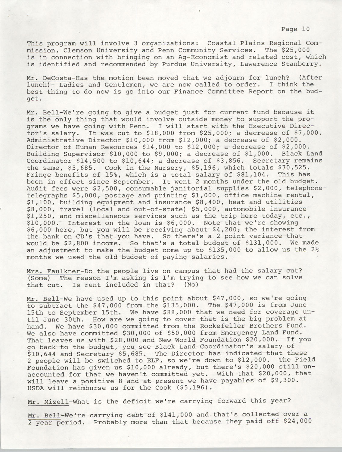 Minutes, Annual Board Meeting, Penn Community Services, October 22, 1977, Page 10