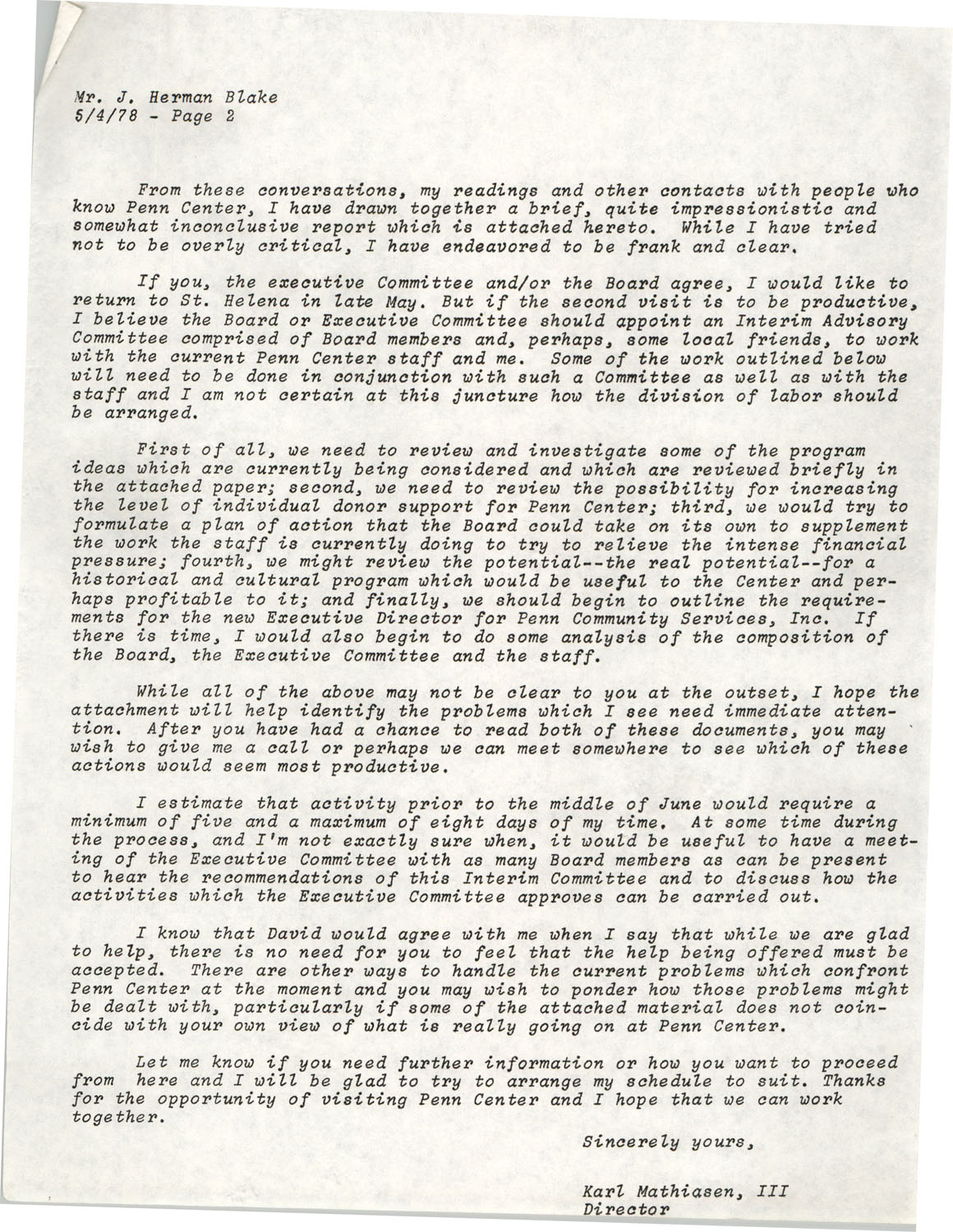 Planning and Management Assistance Project Report, Penn Community Services, May 1978, Page 2