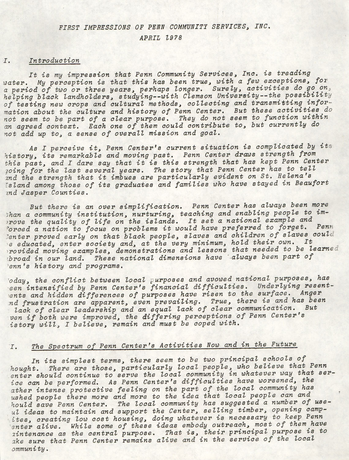 Planning and Management Assistance Project Report, Penn Community Services, April 1978, Page 1