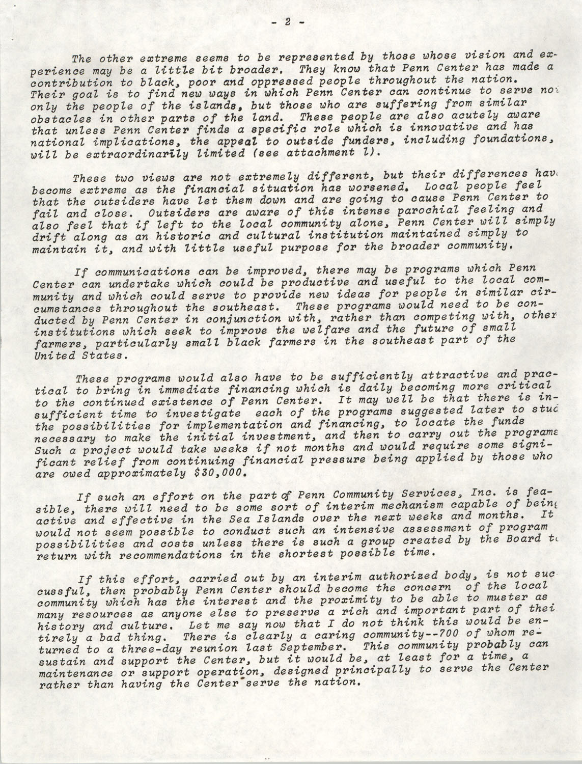 Planning and Management Assistance Project Report, Penn Community Services, April 1978, Page 2