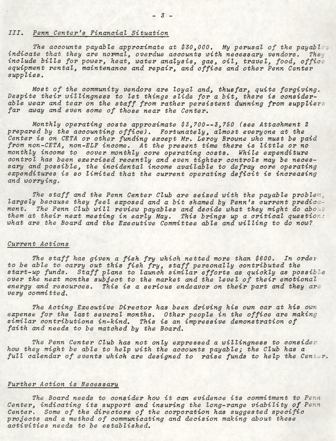 Planning and Management Assistance Project Report, Penn Community Services, April 1978, Page 3