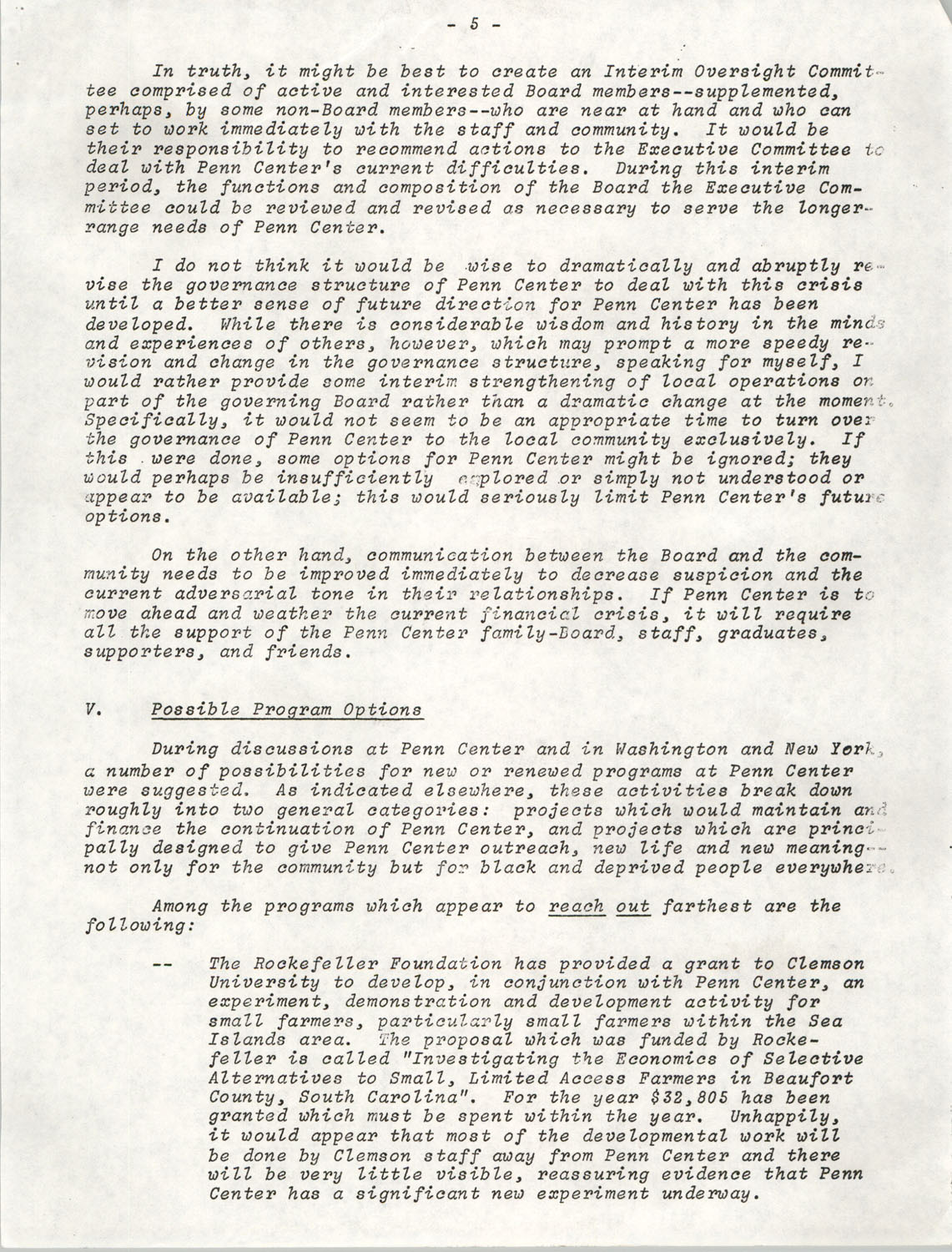 Planning and Management Assistance Project Report, Penn Community Services, April 1978, Page 5