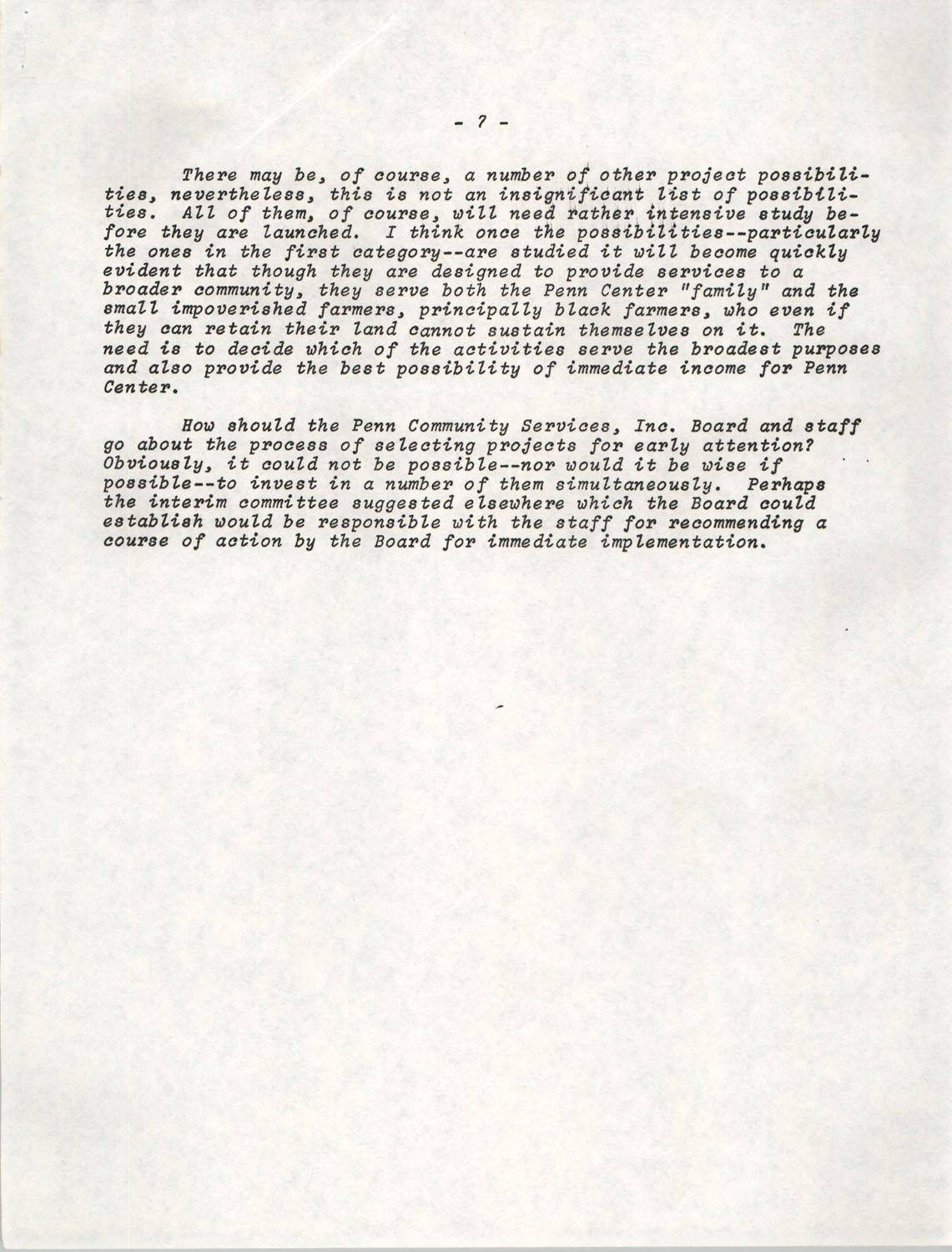 Planning and Management Assistance Project Report, Penn Community Services, April 1978, Page 7