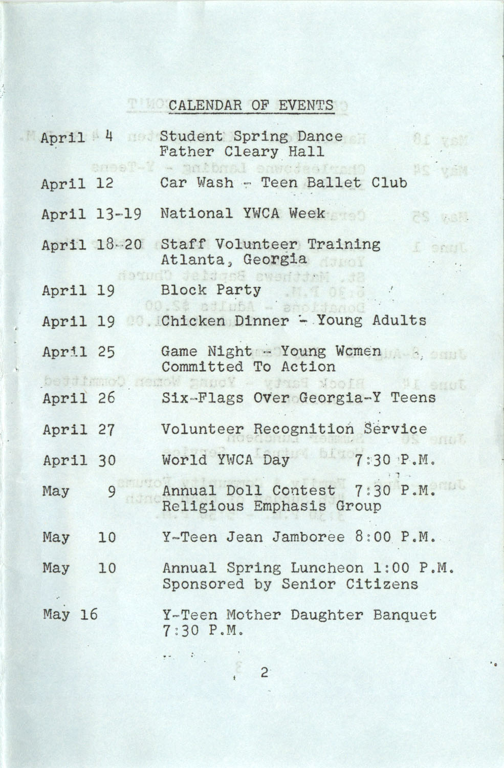 YWCA Spring 1975 Schedule, Page 2