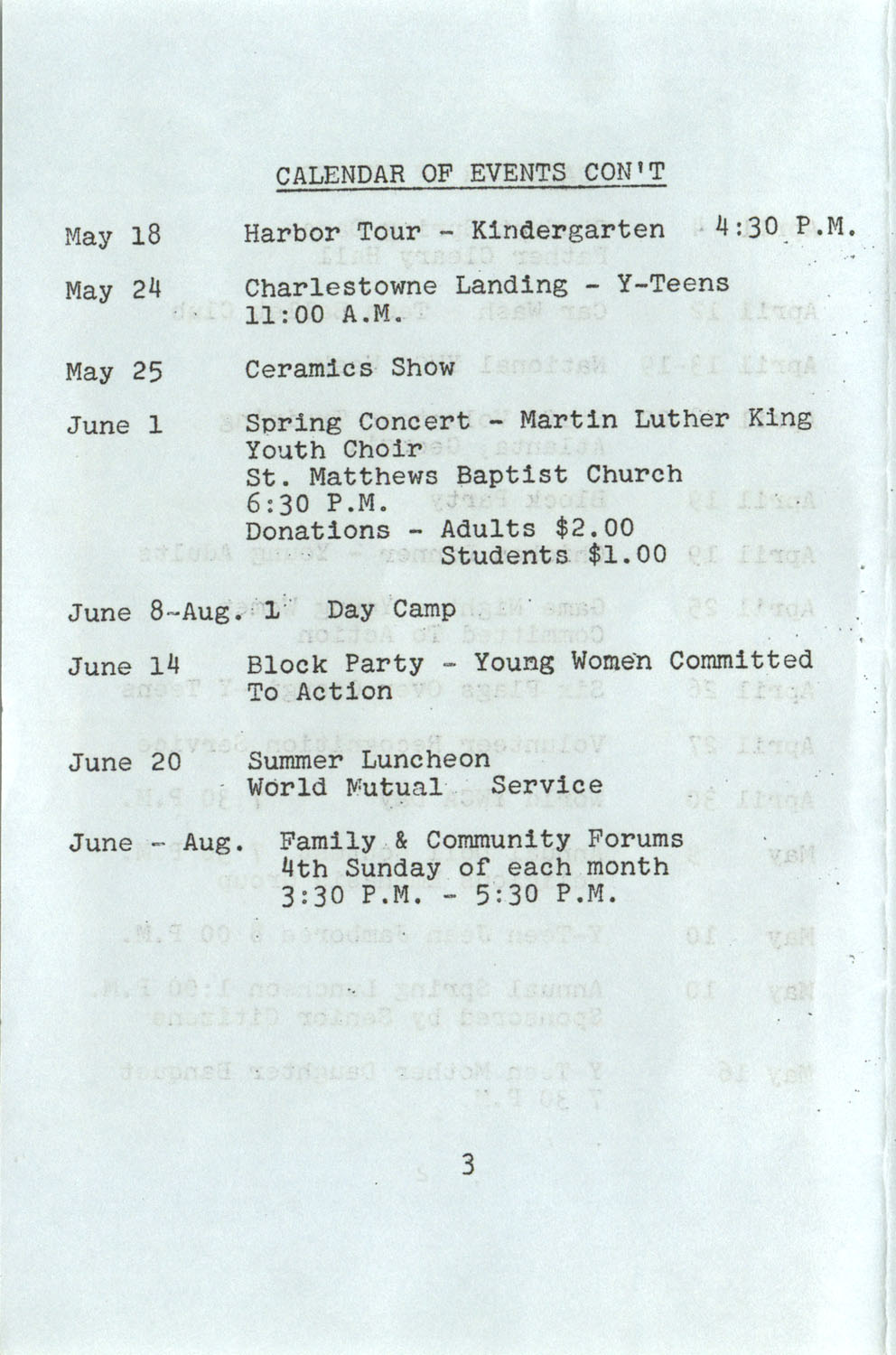 YWCA Spring 1975 Schedule, Page 3