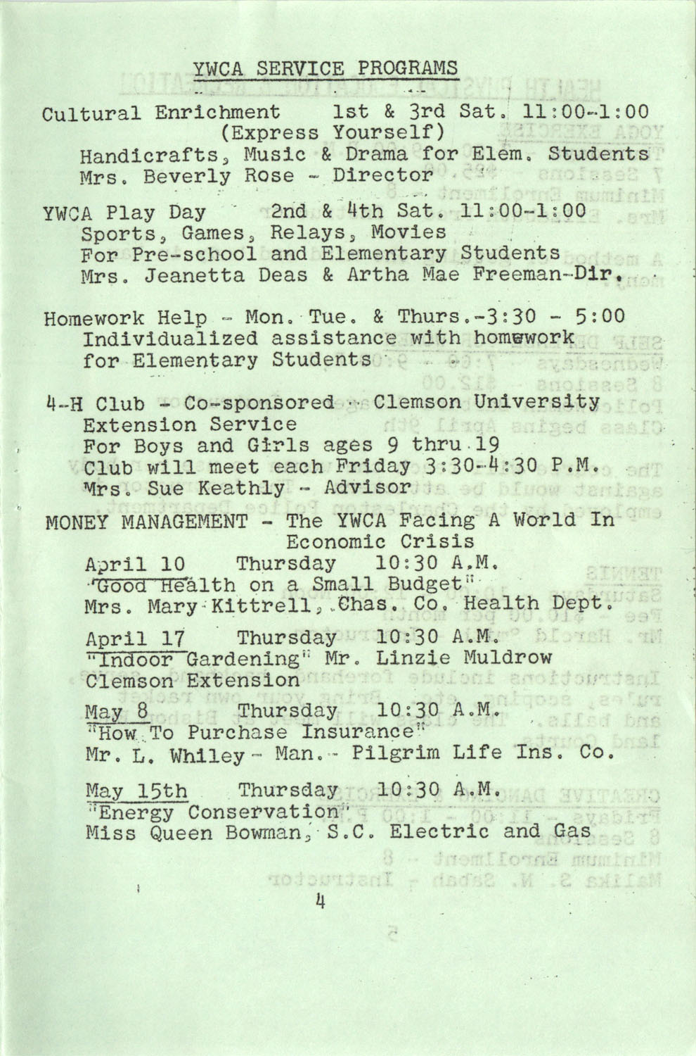 YWCA Spring 1975 Schedule, Page 4