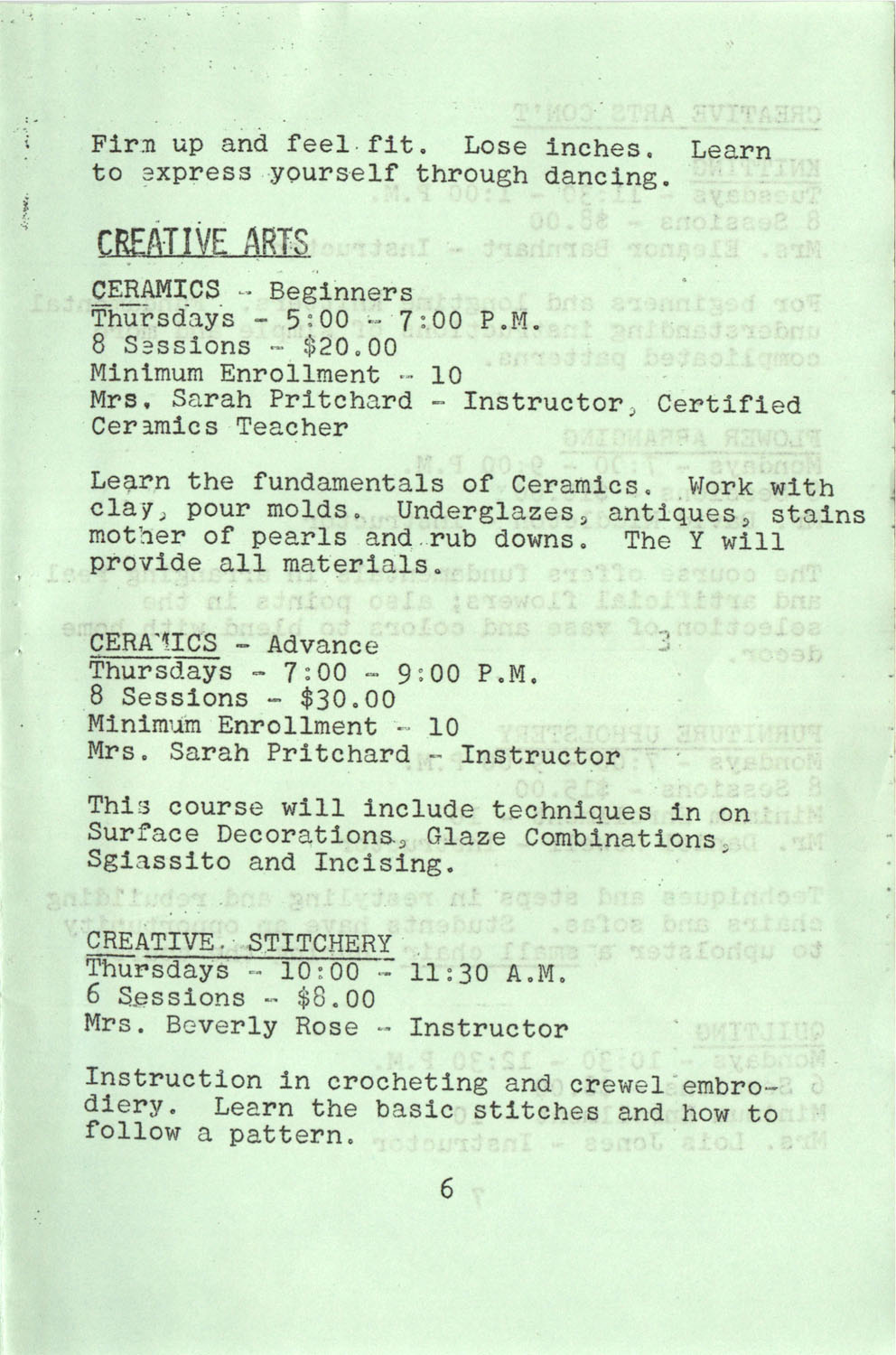 YWCA Spring 1975 Schedule, Page 6