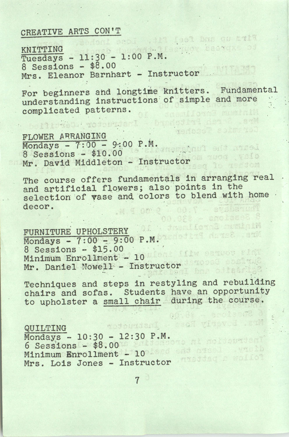 YWCA Spring 1975 Schedule, Page 7