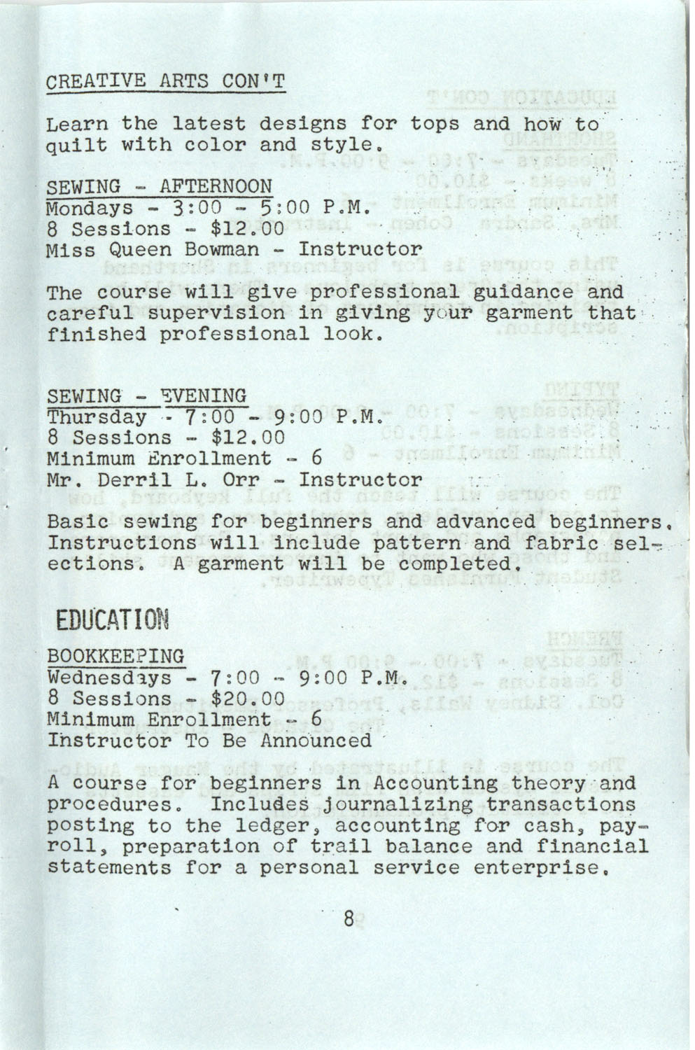 YWCA Spring 1975 Schedule, Page 8