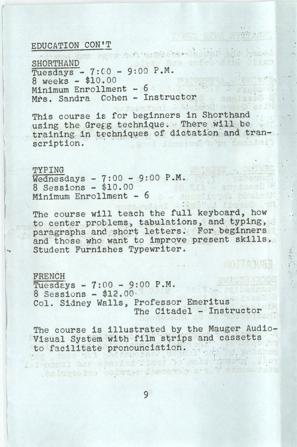 YWCA Spring 1975 Schedule, Page 9