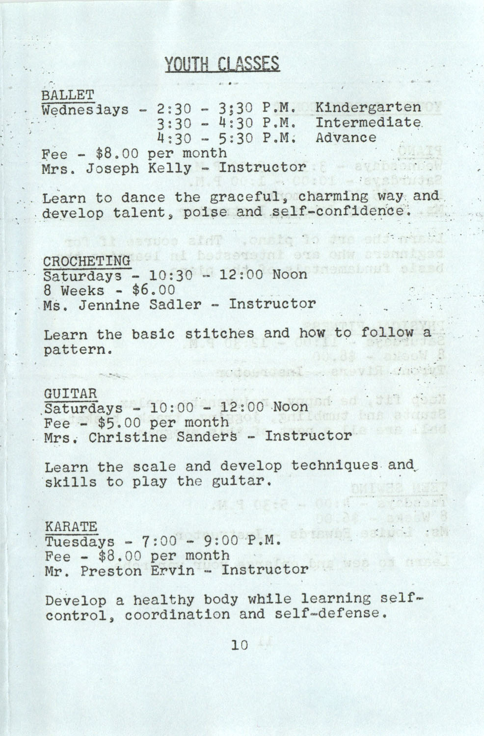 YWCA Spring 1975 Schedule, Page 10
