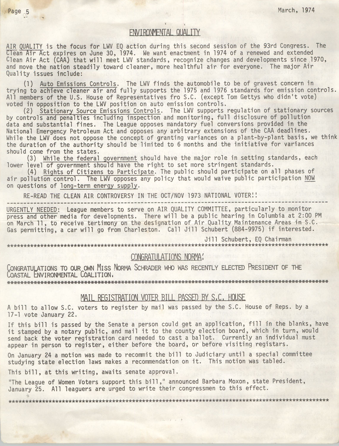League of Women Voters of Charleston County, Volume XXVI, Bulletin No. 6, March 1972, Page 5