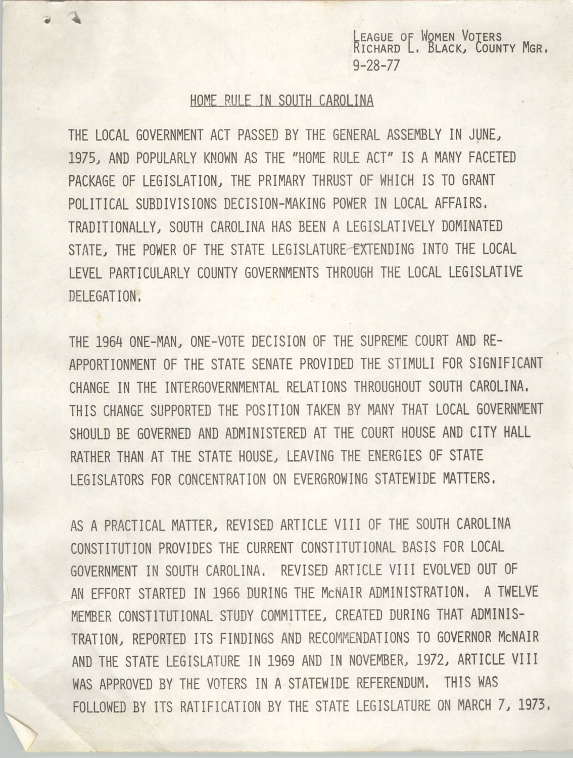 Home Rule In South Carolina, September 28, 1977, Page 1