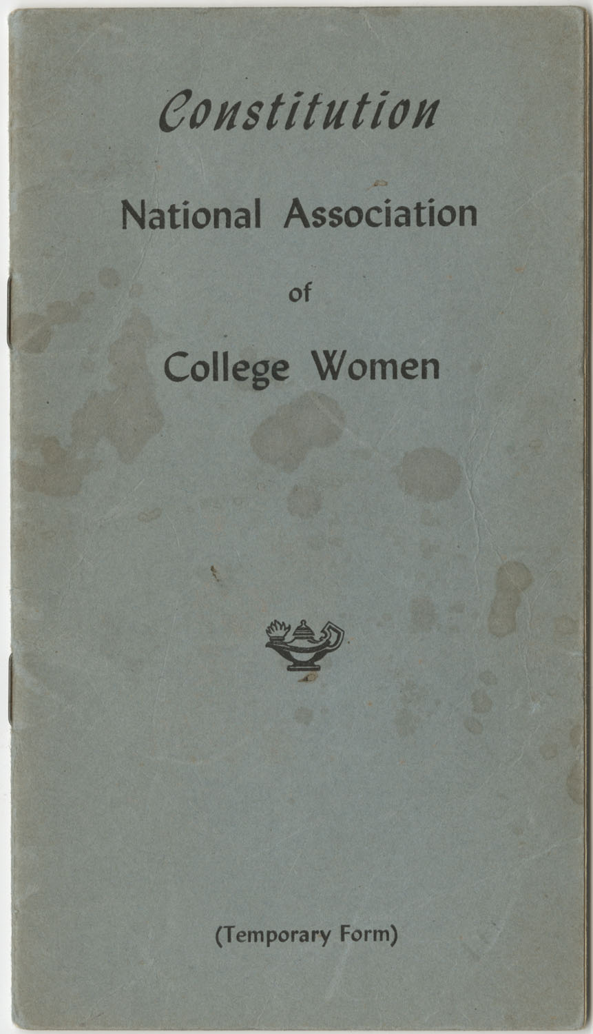 Constitution. National Association of College Women, Front Cover