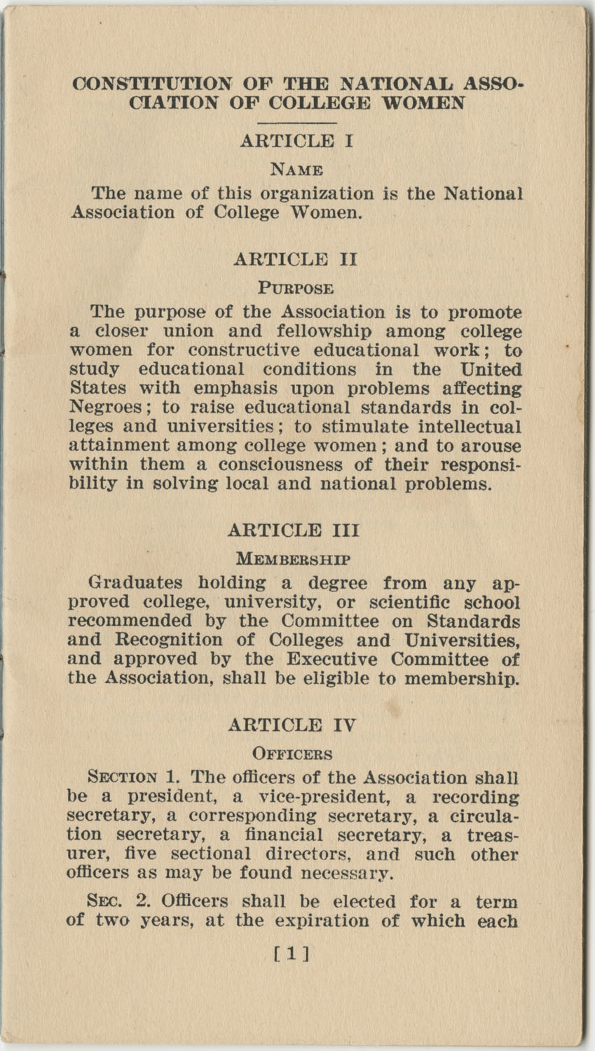 Constitution. National Association of College Women, Page 1