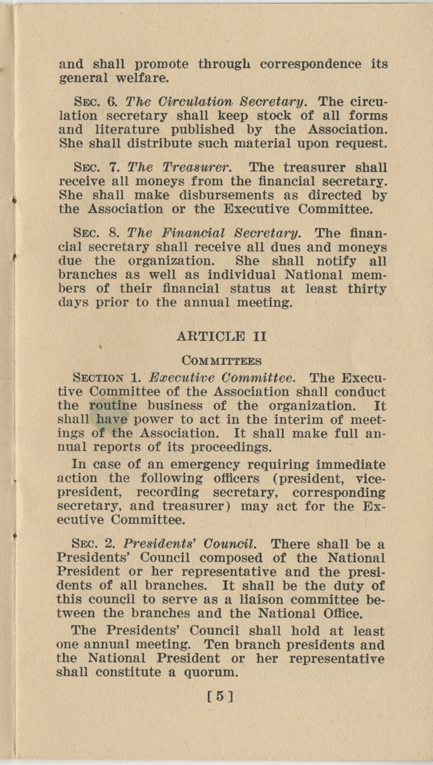 Constitution. National Association of College Women, Page 5