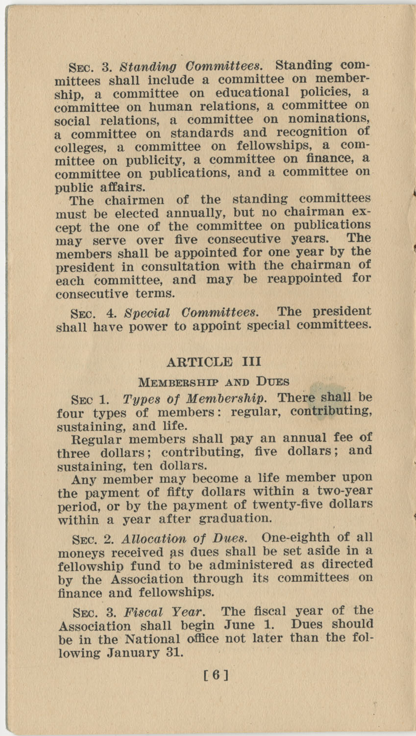 Constitution. National Association of College Women, Page 6