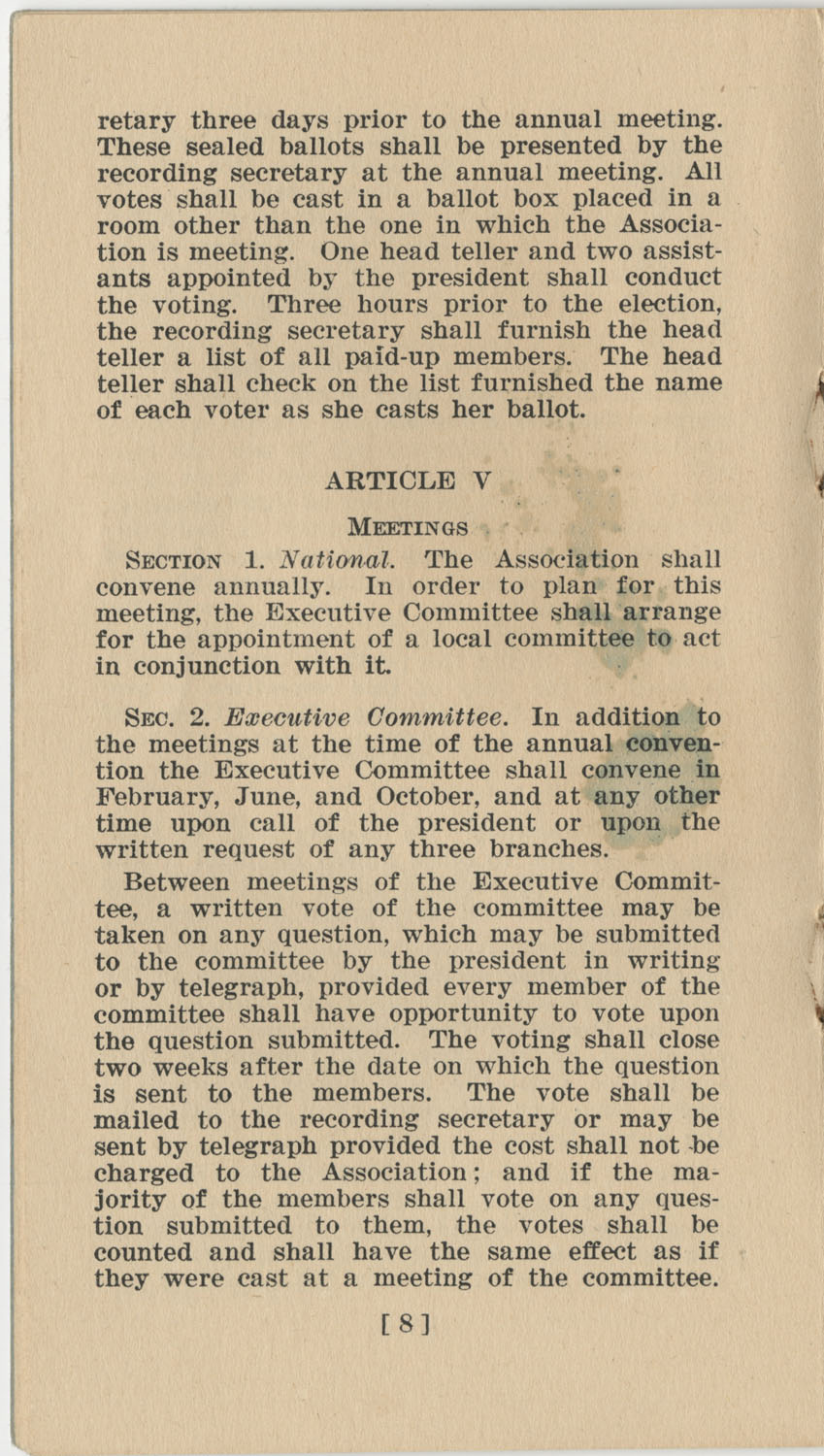 Constitution. National Association of College Women, Page 8
