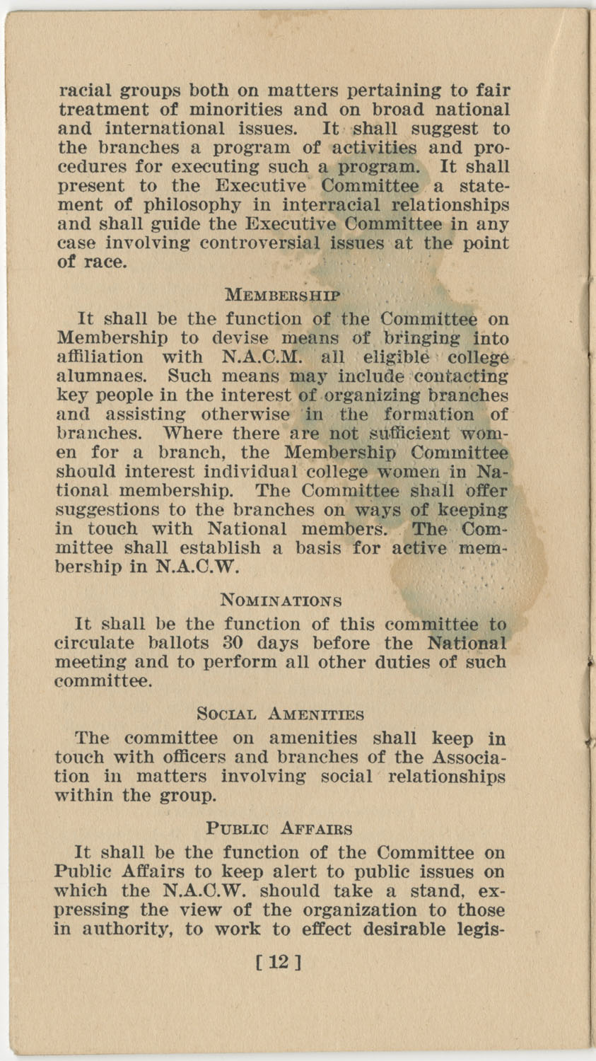 Constitution. National Association of College Women, Page 12