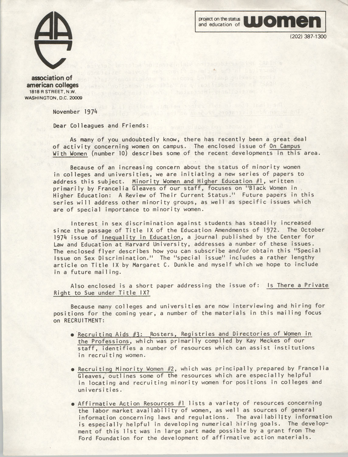 Letter from Bernice Sandler to Association of American Colleges Colleagues and Friends, November 1974, Page 1