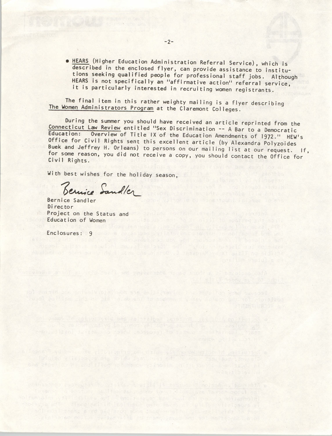Letter from Bernice Sandler to Association of American Colleges Colleagues and Friends, November 1974, Page 2