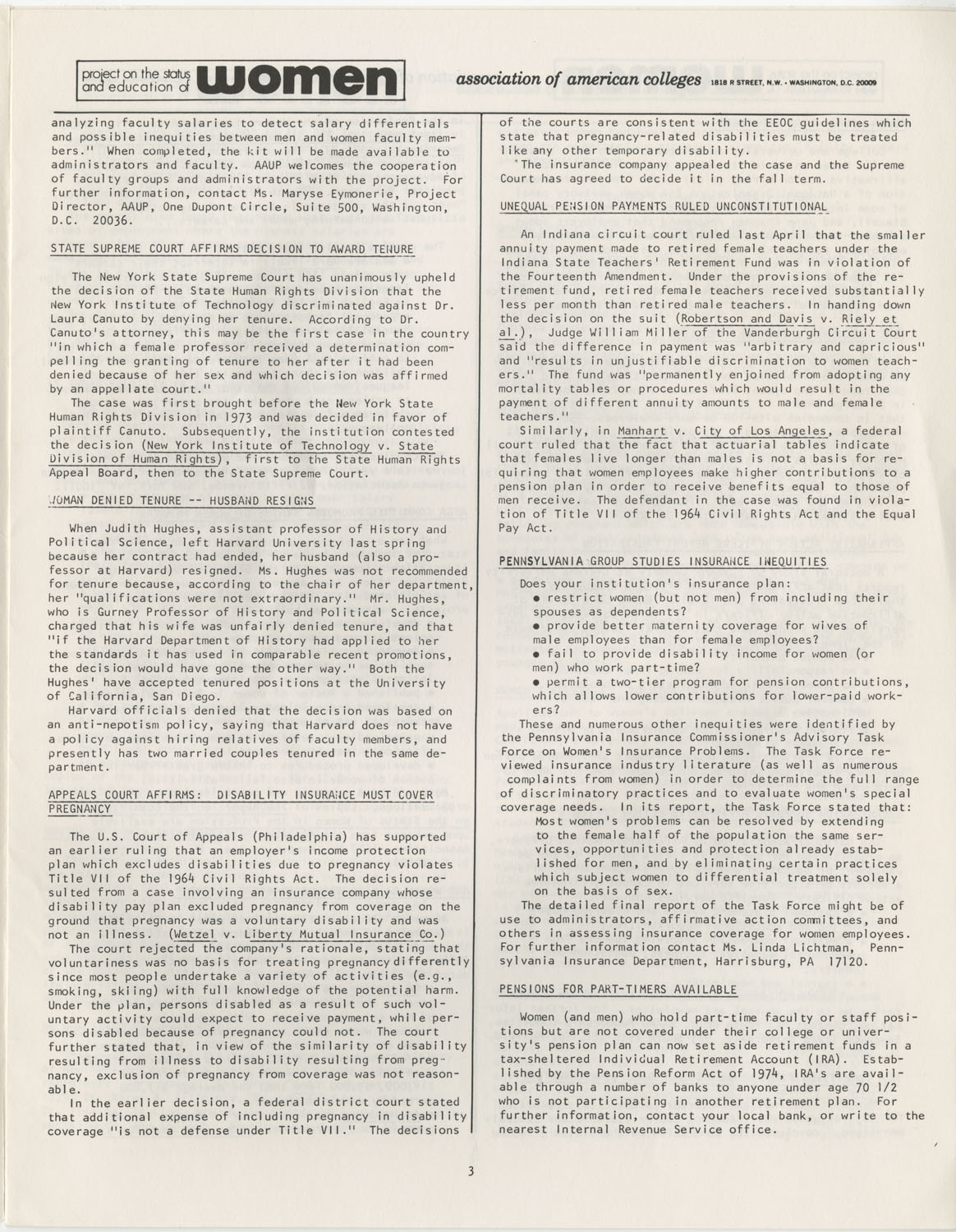 On Campus With Women, Association of American Colleges, November 1975, Page 3