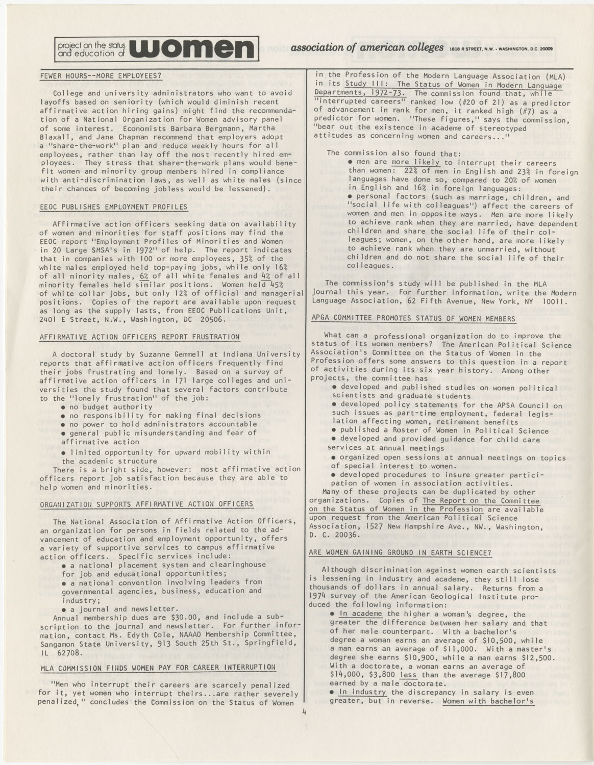 On Campus With Women, Association of American Colleges, November 1975, Page 4