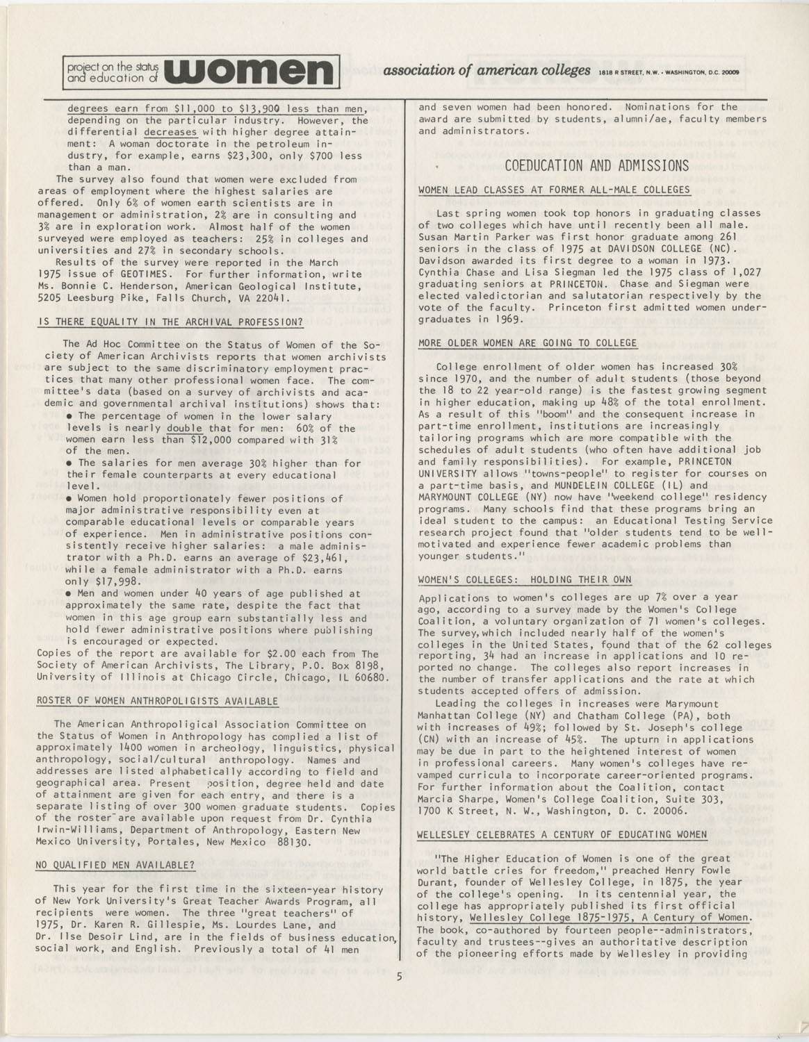 On Campus With Women, Association of American Colleges, November 1975, Page 5