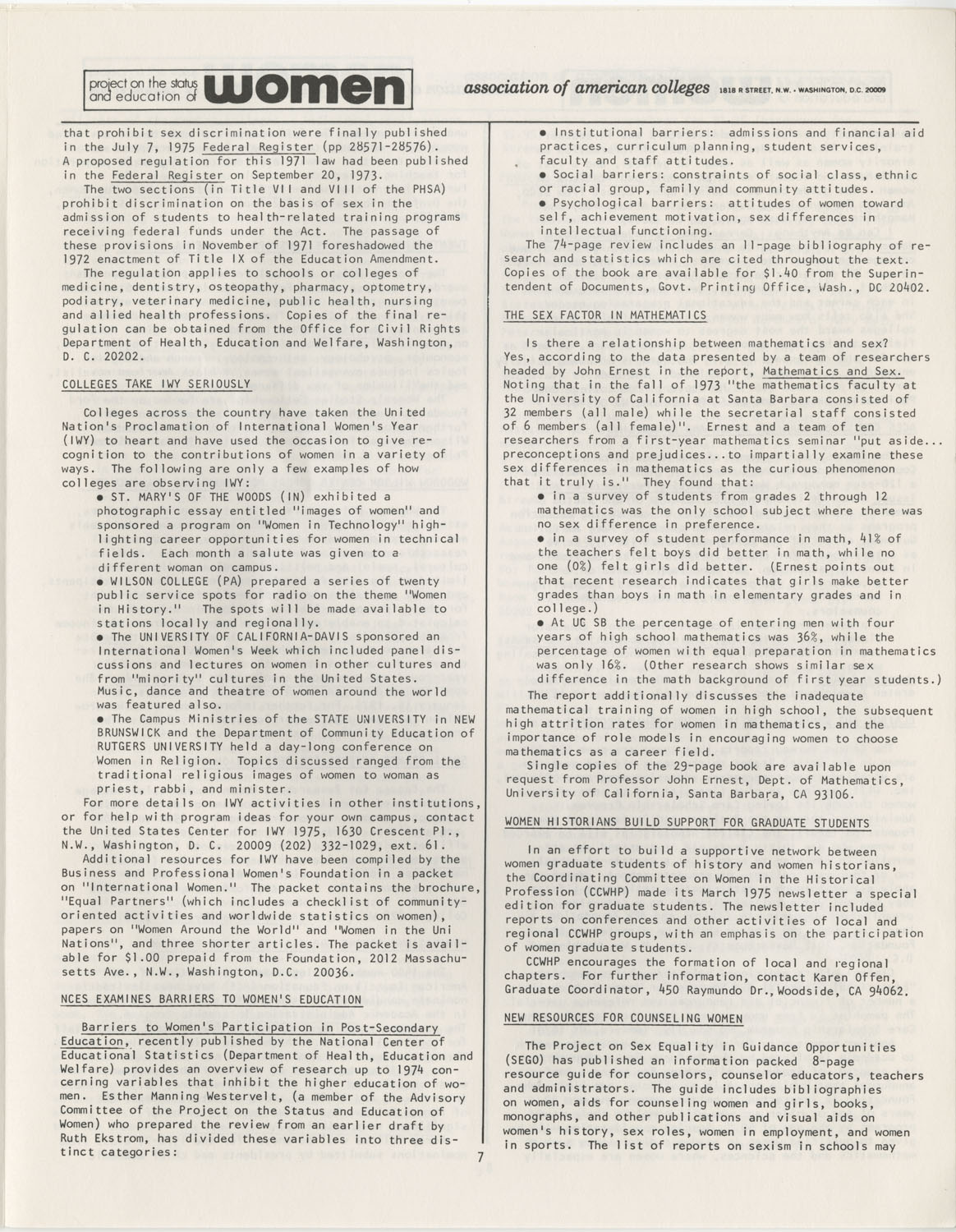On Campus With Women, Association of American Colleges, November 1975, Page 7