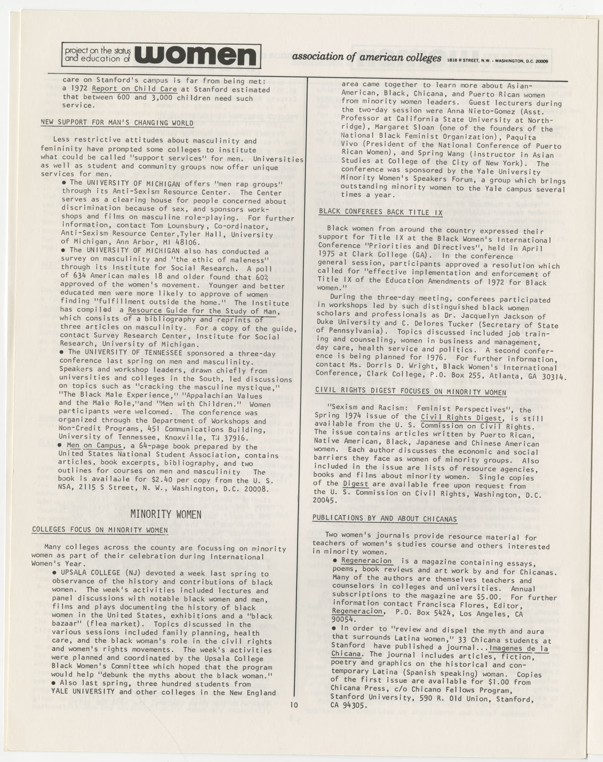 On Campus With Women, Association of American Colleges, November 1975, Page 10