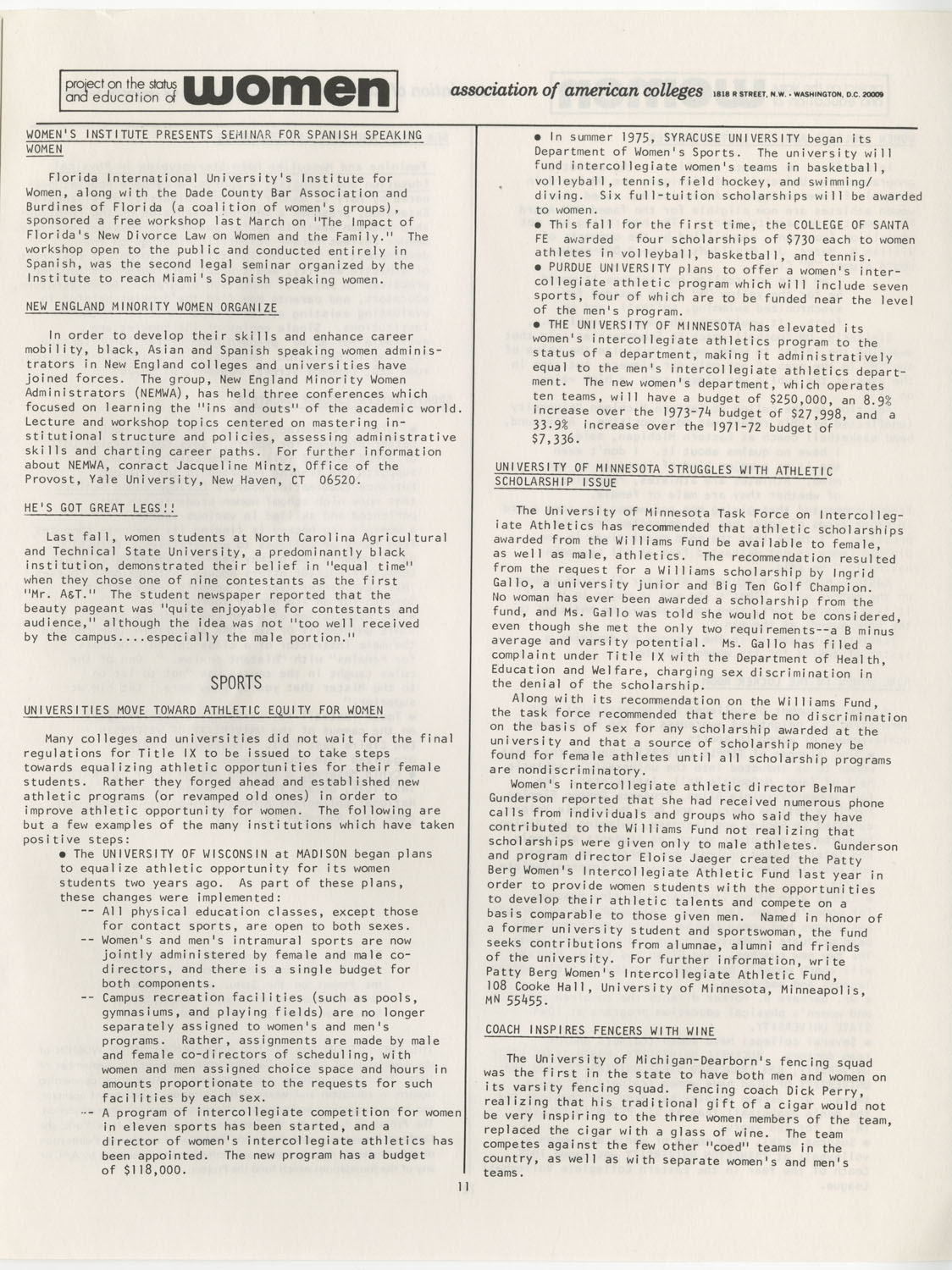On Campus With Women, Association of American Colleges, November 1975, Page 11