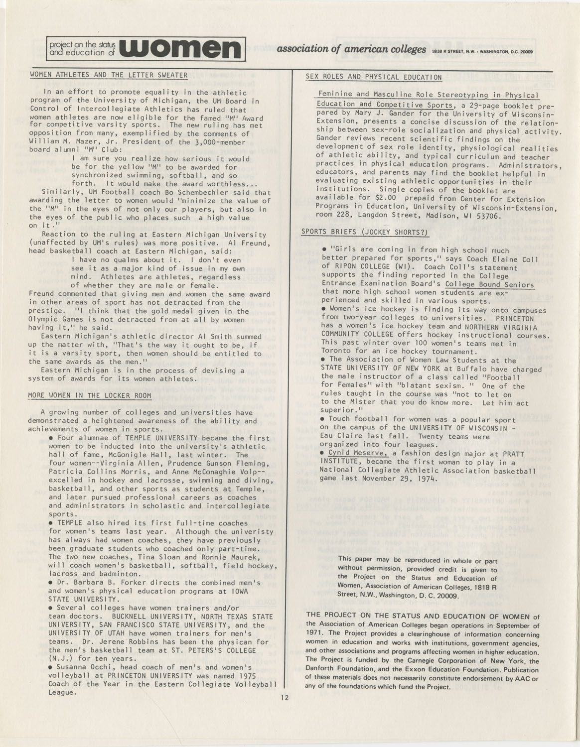 On Campus With Women, Association of American Colleges, November 1975, Page 12