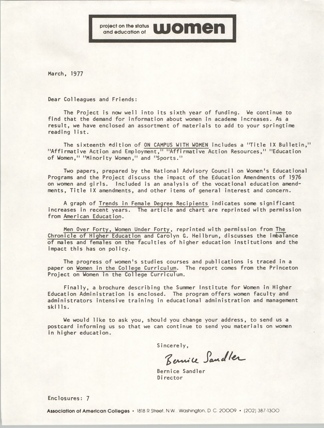 Letter from Bernice Sandler to Association of American Colleges Colleagues and Friends, June 1976